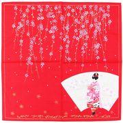 タータン 小風呂敷 花かんざし 舞妓 レッド 50×50cm