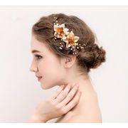 3948f106f2bae おしゃれ 金色のお花真珠 花嫁結婚式パーティー用髪留め-ヘアクリップ ヘア