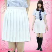 1211E■MB■送料無料■ 無地プリーツスカート 色:白 サイズ:M/BIG