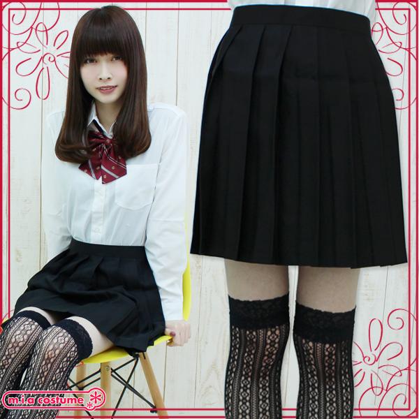 1211C■MB■送料無料■ 無地プリーツスカート 色:黒 サイズ:M/BIG