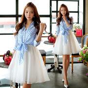 【再入荷】大きいサイズ☆2点セット ギンガムチェックシャツ×キャミワンピース☆2L3L4L5L☆C00508