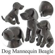 【在庫セール】ドッグマネキン ビーグル(ブラック)2サイズ/レザー/ぬいぐるみ/ディスプレイ小型犬【S/M】