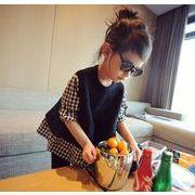 子供服 女の子 キッズ ギンガムチェック 綿ニットのベスト  トップス 韓国 サイズ100-140/五枚セット