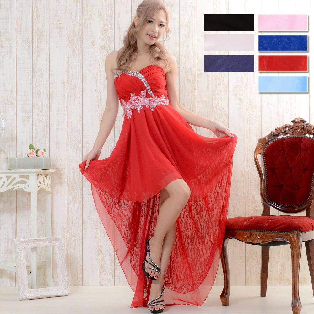 【再入荷・新色追加】0530フラワー刺繍ビジュー装飾シフォン&レーステールカットロングドレス