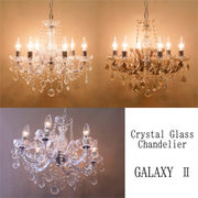 【LED対応/S字フック不要 E12/40W】クリスタルガラスシャンデリア6灯【GALAXY II(ギャラクシー2)】