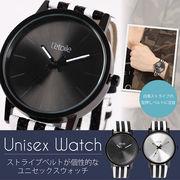 【L'etoile】ストライプベルトが個性的なメンズ レディースウォッチ 腕時計 CM07
