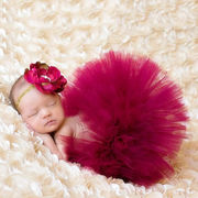 ベビー チュチュスカート ト大きな花ヘッドバンド 写真撮影用 出産祝い 新生児 記念撮影 子供服