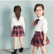 秋 子供服 シャツ+格子スカート 女の子 セットアップ 2点セッ 90-130