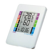 サンワサプライ 熱中症&インフルエンザ表示付きデジタル温湿度計(警告ブザー設定機能付き)