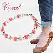 ピンク珊瑚×水晶 アンクレット