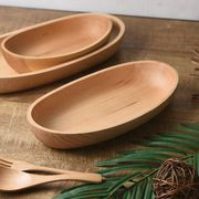 木製カヌー型サラダボウル 中(25cm) ナチュラル