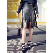 ガーベラレディース 韓国風 ファッション おおらか コーデアイテム PUレザー フリンジ スカート mb12295-1