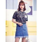 ガーベラレディース 韓国風 ファッション 小花 丸首 半袖 ゆったり Tシャツ mb12306-1