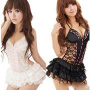 セクシーランジェリー レースドレス+パンティ ブラック/ホワイト 5着セット フリーサイズ