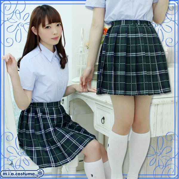 ■送料無料■ステッチ入りチェック柄プリーツスカート単品 色:グリーン×ネイビーサイズ:M/B