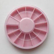 ネイル用品 ネイルパーツの収納ケース プラスチック製 12枠 6cm ホワイト/ピンク