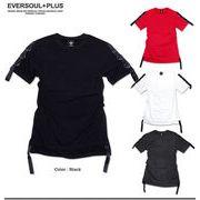 ★ロングシルエットがGOOD!★袖や裾のベルト&リング使いがパンキッシュなデザインTシャツ★