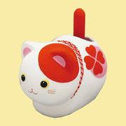 ゆらゆらソーラー 風水座り猫/赤