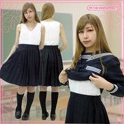 1207E■MB■送料無料■ インナー付き吊りスカート単品 色:無地紺 サイズ:M/BIG
