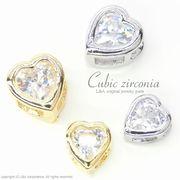 """★L&A Original★Cubic zirconia★ゴールド&シルバー★ハートチャーム♪155 """"Cubic Heart"""""""