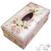 薔薇柄ティッシュボックスケース/カルトナージュ