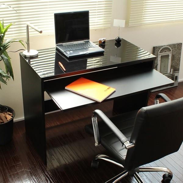 【6/下】デスク スライドテーブル付 90cm幅 日本製 ハイデスク ブラック FM108N-BK
