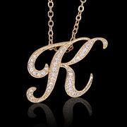aネックレス≪K≫ K18 コーティング イニシャルネックレス   ゴールド ホワイトゴールド ピンクゴールド