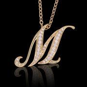aネックレス≪M≫ K18 コーティング イニシャルネックレス   ゴールド ホワイトゴールド ピンクゴールド