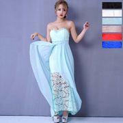 【再入荷】0517上品ローズレース&シフォン輝くビジュー美ラインロングドレス  キャバドレス