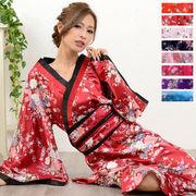 【再入荷】0366☆帯付きななめカットフリル花魁着物ロングドレス 衣装 よさこい コスプレ キャバドレス