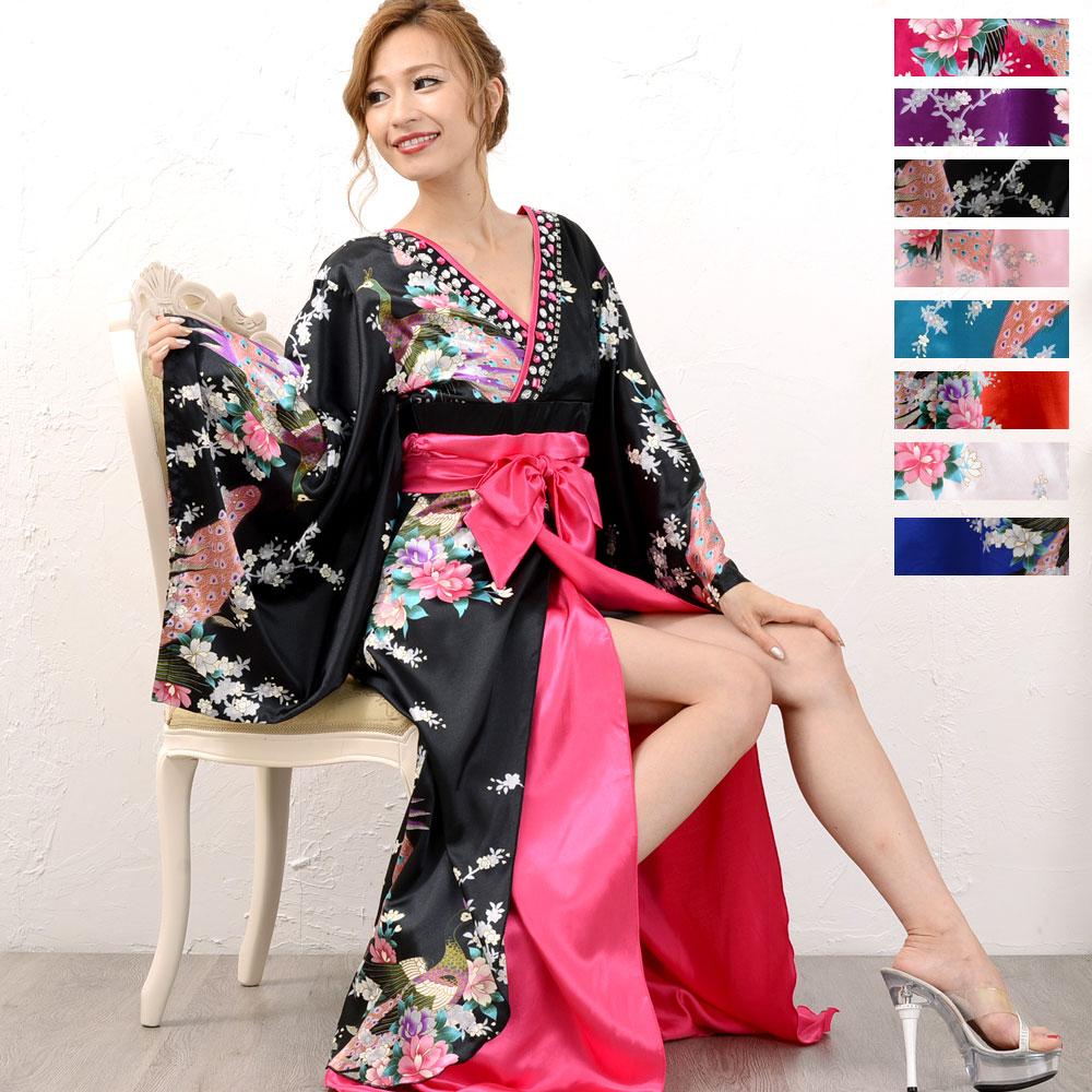 【再入荷】0553豪華ビジュー花魁ロング着物ドレス 和柄 衣装 ダンス よさこい 花魁 コスプレ キャバドレス