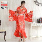 【再入荷】0012☆帯付き花魁着物ロングドレス和柄 衣装 ダンス よさこい 花魁 コスプレ キャバドレス