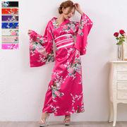 【再入荷】0325孔雀サテン和柄ロング着物ドレス 和柄 衣装 ダンス よさこい 花魁 コスプレ キャバドレス