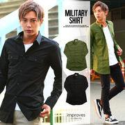 【IMP】ロング丈ミリタリーワークシャツ