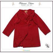 フォーマルに映えるフリル襟英国テイストのAラインPコート(JPBt)レッド 100-125cm