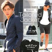 【IMP】綿麻 ストレッチ テーラード ジャケット