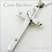 ステンレス ネックレス クロス 十字架 ボルトリング ネジ シルバー レディース メンズ アクセサリー