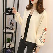 ニットカーディガン 刺繍 カットソー ゆったり 花柄 韓国風 プレッピースタイル 全4色 r3000137
