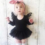 ★女の子 人気3色 ベビーレース肩 ロンパース ネットスカート★長袖 オールインワン 赤ちゃん 新生児