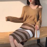 秋冬 韓国風 何でも似合う 着やせ 気質 Vネック 長袖のセーター シンプル ストライプ