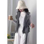 秋冬 新しいデザイン 韓国風 女性服 千鳥格子 ベスト 学生 着やせ 着やせ ベルト ジ
