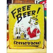 アメリカンブリキ看板 キュートなビールイラスト