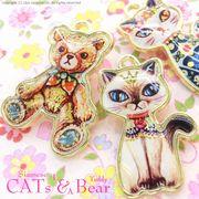 """▼SALE▼L&A original charm★アニマル&かわいいトップパーツ★""""CAT""""&""""Bear""""のリアルパーツ★"""
