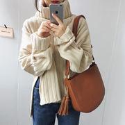 韓国風 秋冬 新しいデザイン ファッション 何でも似合う ルース 単一色 スプリット ハ