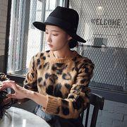 ニット モコモコ カットソー プリント ラウンドネック レオパード柄 ファッション #706637