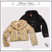 美シルエットで優雅な気品で魅せる!さっと羽織るだけで華やかになるファージャケット(JPBt) 120-170cm
