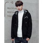 秋冬メンズジャケット 長袖トップス フード付け裏起毛 防寒 カジュアル/グレー/ブラック2色