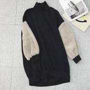 韓国風 新しいデザイン かわいい ふわふわ 長袖 + 裏起毛 ハイネック セーター 女