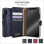 iPhone X ケース 手帳型 CALF FLIP CASE ストラップ カード収納 スマホカバー フリップ スタンド