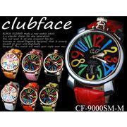 【人気商品♪】革バンド メンズウォッチ マルチカラー ビッグフェイス メンズ腕時計 CF-9000SM